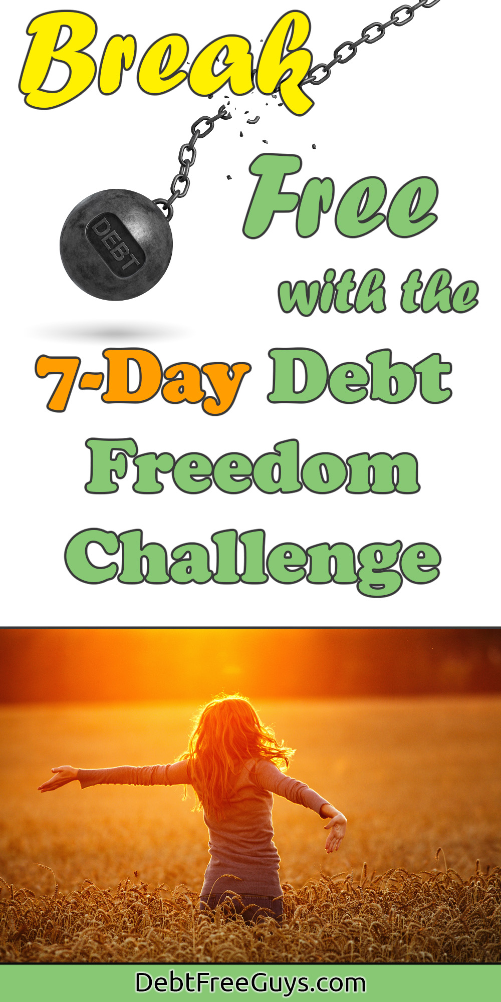 Take the 7-Day Debt Freedom Challenge and start becoming debt free today. This week is the week you take back control of your money and start being free. Take it with a friend and spread debt freedom.