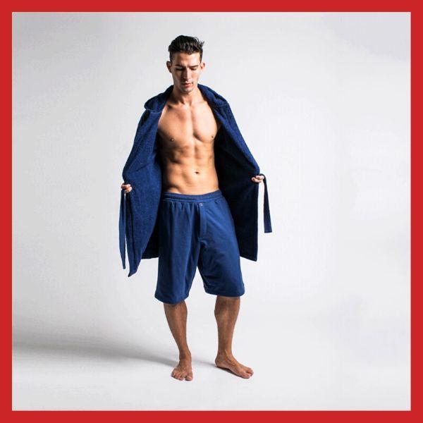 DudeRobe Men's Hooded Bathrobe Pants and Shorts Set