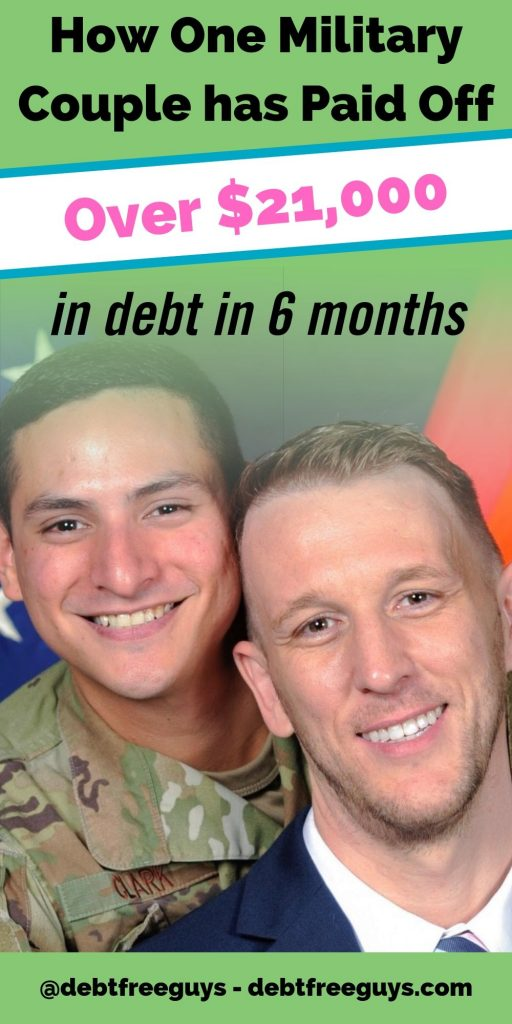 One military couple's debt free journey helped them pay off $21,000 of debt in 6 months. Get the step-by-step on how they did it and what they'll do next. #DebtFree #DebtFreeJourney #LiveDebtFree #MilitarySpouse #Military #EliminateDebt #PayOffCreditCardDebt #MoneyConscious #DebtStory #Podcast #QueerMoney #DebtFreeLGBT #LGBT #GayMen #GayMenandRelationships #FabulousGayLife