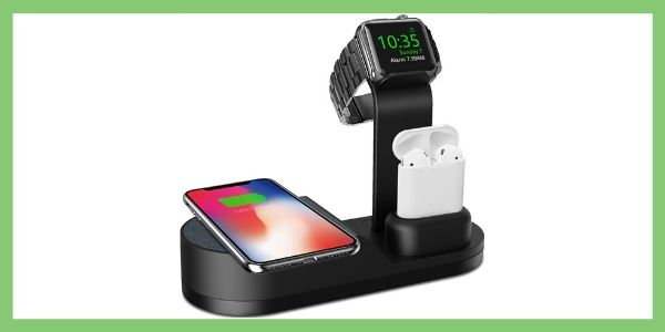 Deszon Wireless Charger Designed for Apple Watch Stand Compatible with Apple Watch Series 5 4 3 2 1, AirPods Pro Airpods and iPhone 11 11 pro 11 Pro Max Xs X Max XR X 8 8Plus