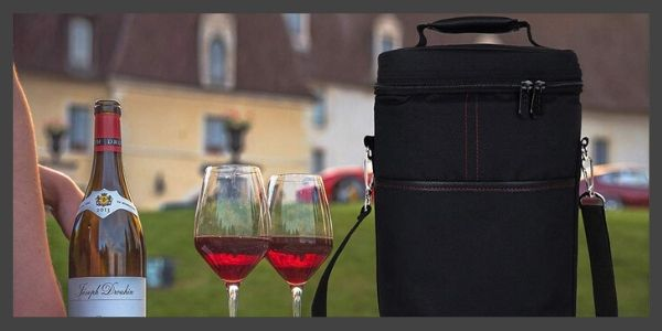 Insulated 2 Bottle Wine Carrier Wine Tote Bag with Shoulder Strap Padded Protection Corkscrew Opener